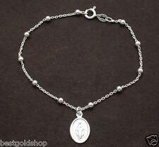 3mm Italian Round Rosary Bead Bracelet Virgin Mary Medallion 925 Sterling Silver