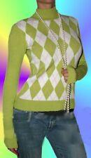 Stylischer Damen Rauten Karo Pulli M 36 L 38 steh Kragen Pullover grün/weiß/rosa
