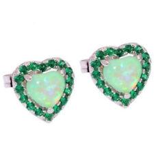 925 Sterling Silver Green Heart Fire Opal & Rhinestone Ear Stud Earrings Jewelry