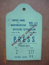 Notre Dame vs. Northwestrn Press Box Pass 11-17-34 RARE