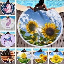 Flag Unicorn Sunflower Round Tassels Beach Towel Microfiber Picnic Blanket Yoga