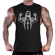 Men's Buff Jesus Muscle Black T-Shirt Tank Top Gym Workout Fitness Athletic Flex