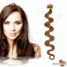 Remy Echthaar Bonding Extension Haarverlängerung 0,5 gewellt  #12 hellbraun