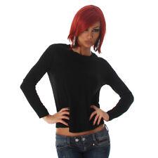 Pullover donna Maglione maglia corta maglioncino girocollo casual inverno NUOVO