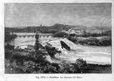 Stampa antica Cascata di Schaffhausen Svizzera 1889 Old Print Switzerland