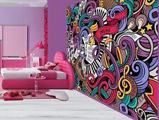 Cool graffiti sticker bomb music notes keyboard wallpaper wall mural (49422105)