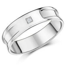 9 ct Oro Blanco Diamante Juego Plano boda Hombres 6mm Banda