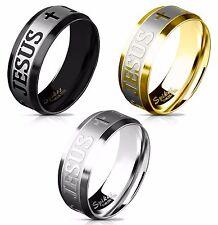 JESUS & Crosses Brushed Steel Center Stainless Steel Ring - Steel, Black or Gold