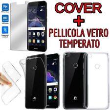 COVER per Huawei P10 LITE P8 LITE 2017 P9  in TPU + PELLICOLA VETRO TEMPERATO