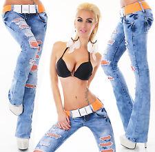 Hüft Jeans Hose Bootcut Destroyed Schlag Risse Orange Netz Spitze Gürtel XS-XL