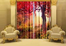 Red Magic Tree Autumn 3D Blockout Photo Printing Curtains Draps Fabric Window