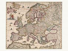 Old Antique Decorative Map of Europe de Wit ca. 1682