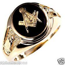 Free Mason Masonic Semi-Precious Black Onyx Stone Gold Plated Men Ring Size 8-15