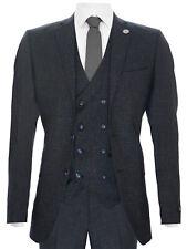 Mens Blue Wool 3 Piece Suit Double Breasted Waistcoat Tweed Peaky Blinders 1920s