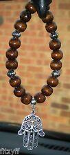 In Car Hanging Hamsa Pendant & Wood Wooden Beads Khamsa Hand of Fatima Amulet