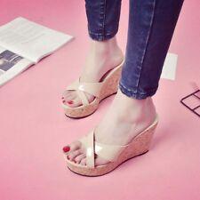 Platform Roman Shoes Womens Wedge Heel Patent Leather Sandal Slipper Fashion