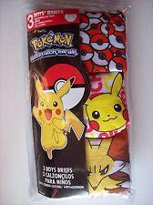 Pokemon Underwear Underpants Briefs Boys 3pk Sz 4 6 8 Gotta catch 'em all! NIP
