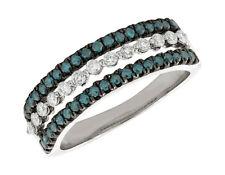 Natural 0.70Ct Round Cut Blue Diamond 3Row Wedding Band Ring 10K Gold