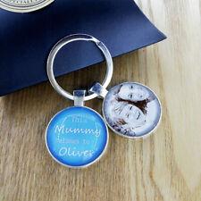 Personalised Photo Glass Keyring Christmas Birthday Gift Daddy Mummy Grandad Mom