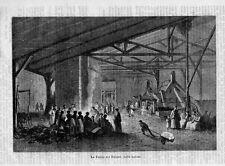 Stampa antica FUCINA lavorazione del ferro a Saint-Dizier 1870 Old Print