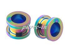 1 oder 2 Stück Tunnel rainbow 1,2mm-18mm Titan eloxiert Plug Flesh Ohr Edelstahl