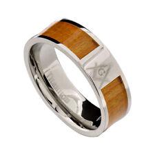 8mm Titanium Brown Wood Inlay Masonic Men's Wedding Ring Band