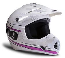 509 Evolution Frost White/Pink Helmet Snowmobile MX ATV Snowcross Womens/Girls