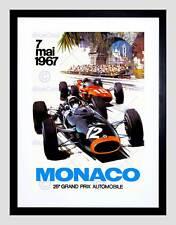 VINTAGE MONACO 25 GRAND PRIX AUTOMOBILE 1967 RACE Framed Art Print b12x11883