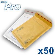 Lot de 50 enveloppes bulles PRO - 10 formats au choix - blanches ou marron