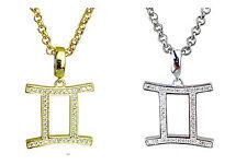 GEMINI simbolo della ZODIAC argento o oro placcato pendente-horoscopes STAR segni