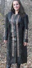 Femmes en cuir noir western porter veste longue frangée à la main longues veste
