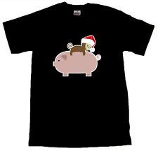 Santa Hat Baby Monkey Riding Backwards on a Pig T-Shirt - ALL SIZES - Black