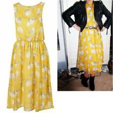 Topshop Mustard Yellow Floral Buttercup Floaty Chiffon Midi Dress - Size 6