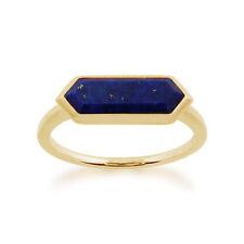 Gemondo 925 Gold Plated Sterling Silver 1.50ct Lapis Lazuli Hexagonal Prism Ring