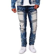 Men Smoke Rise Slim Straight Vintage Basic Moto Pants Coal Blue Denim Jeans