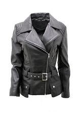 Ladies Black Long Feminine Leather Biker Jacket