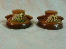 Roseville Art Pottery Freesia Pair of Short Candleholders