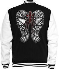 Gothic Sweat College Jacke Flügel Kreuz Rock Metal  Tattoo Black