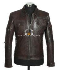Melvin Brown Men's Vintage Retro Real Sheep Nappa Leather Fashion Jacket