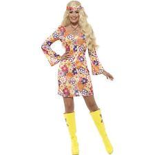 Multi 60's Flower Hippie Woodstock Groovy 1960 Womens Ladies Fancy Dress Costume