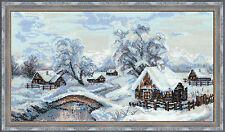 Winter Village Nieve 14 count Cross Stitch Kit de riolis rango Premium 42x23cm