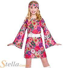 Girls Retro Gogo Flower Power Hippy 60s 70s Fancy Dress Costume Child Outfit
