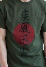 Japanese T Shirt Lightning Japan Tokyo Calligraphy Anime Yoga Martial Arts Mens