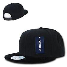 DECKY Velvet Black Visor Snapback 6 Panel Flat Bill Baseball Caps Hats