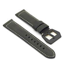 DASSARI Salvage Distressed Leather Watch Strap in Black w/ Black Pre V Buckle