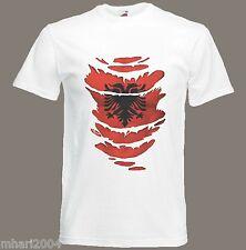 Albanian Flag T-Shirt see Muscles through Ripped T-Shirt Albania Sizes S - XXXL