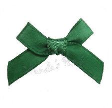 Christmas Hunter Green Satin Ribbon Bows, Choose 3mm or 7mm- 30pk, 50pk or 100pk