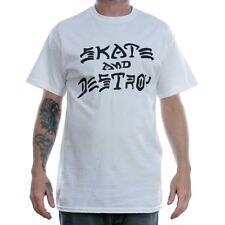 Thrasher Magazine White Skate & Destroy T-SHIRT TEE RARO Ufficiale Gratuito Consegna