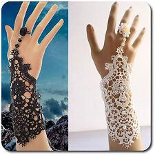 Sklaven Armband Burlesque Viktorianisch Spitze mit Fingerring Blume Barock Braut