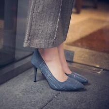 Womens High Heels Ladies Strip Pointed Toe Pumps Sandals Fashion Plus Size Shoes